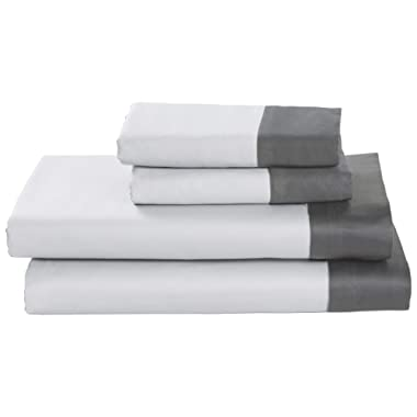 Rivet Color Block 100% Supima Cotton Bed Sheet Set, Queen, White / Pewter