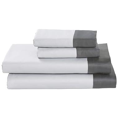 Rivet Color Block 100% Supima Cotton Sheet Set, Full, White/Pewter