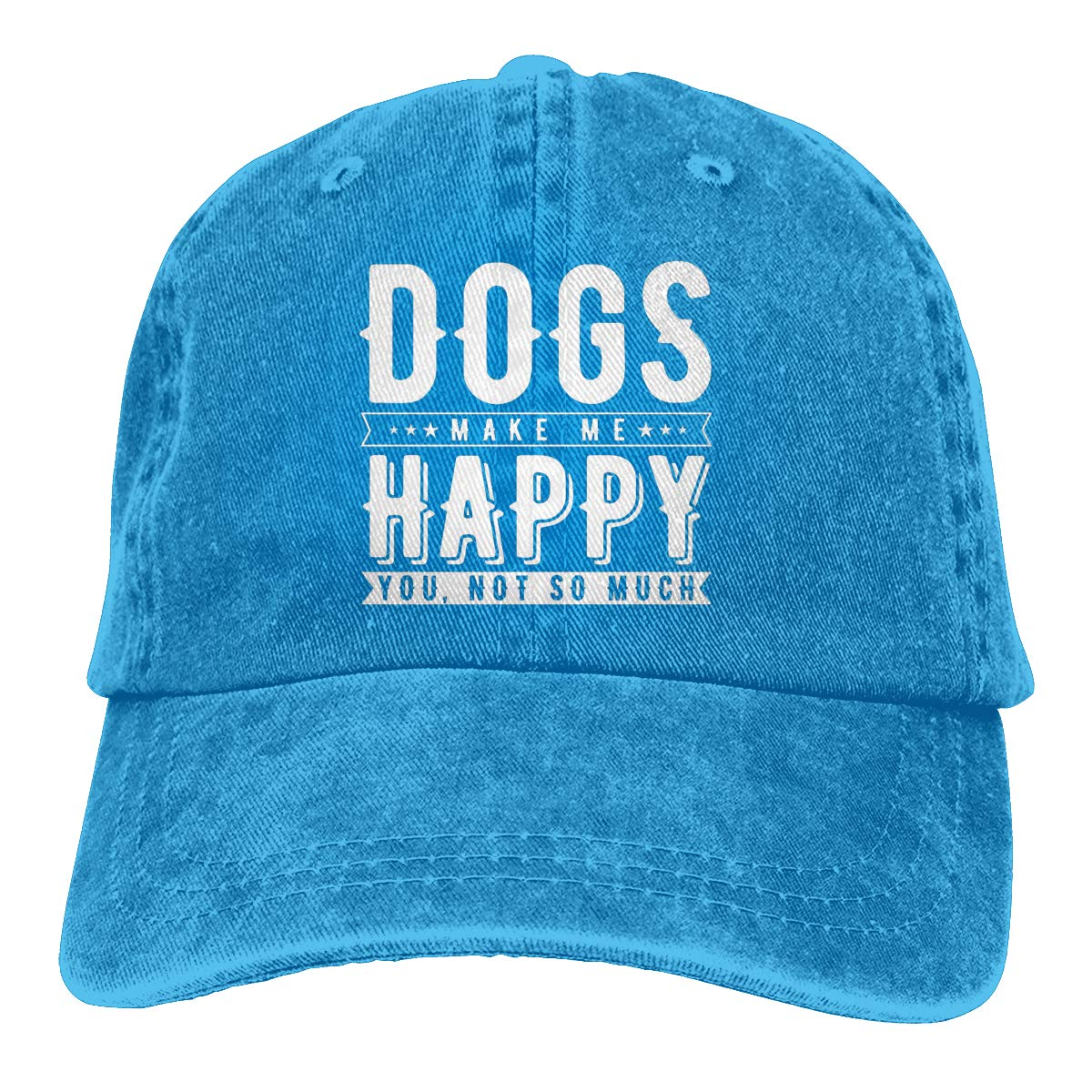 Andeonky Dogs Make Me Happy You Not So Much Hats Denim Fabric Cap Dad Adjustable Hat Baseball Cap Black