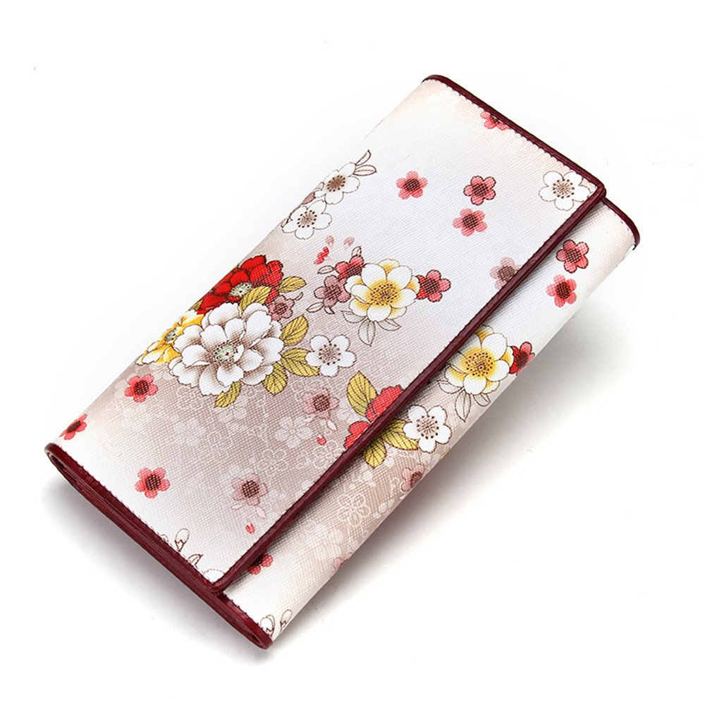 Beige Women's Large Capacity Leather Clutch Wallet Women's Stylish Printing Clutch Long Purse Card Holder Organizer Ladies Purse (color   Yellow)
