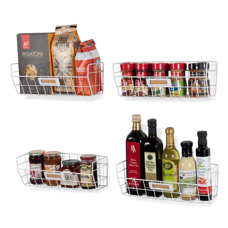 Wall35 Macon Wall Mounted Kitchen Storage Metal Wire Fruit Basket Set of 4 White