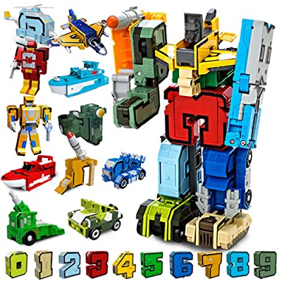 Moonio Numbers Transform Robots Toy Playset from 10 Pieces Combinate to A Big Early Learning Robot Gift for Boy (0-9 Numbers Robot): Toys & Games