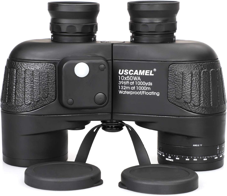USCAMEL 10×50 Marine Binoculars for Adults, Military Binoculars Waterproof with Rangefinder Compass BAK4 Prism FMC Lens Fogproof for Navigation Birdwatching Hunting 10×50
