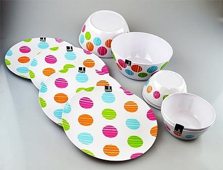 Dining Set Spotted Design Bowls Plates Tableware Parties Home Kitchen Melamine & Dining Set Spotted Design Bowls Plates Tableware Parties Home ...