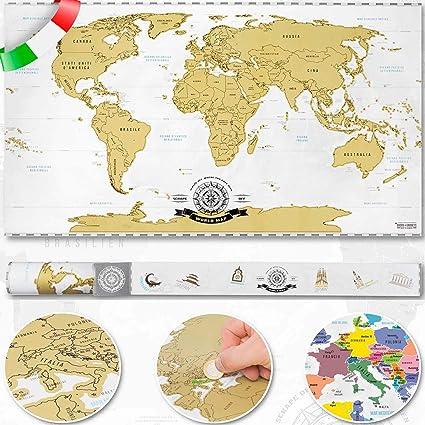 Cartina Mondo Gratta.Goods Gadgets Raschia Via La Mappa Del Mondo Da Grattare Oro Xxl Scratch Off World Map 82 X 45 Cm Graffio Mappa Deluxe Murale A Parete Italiano Amazon It Casa E Cucina