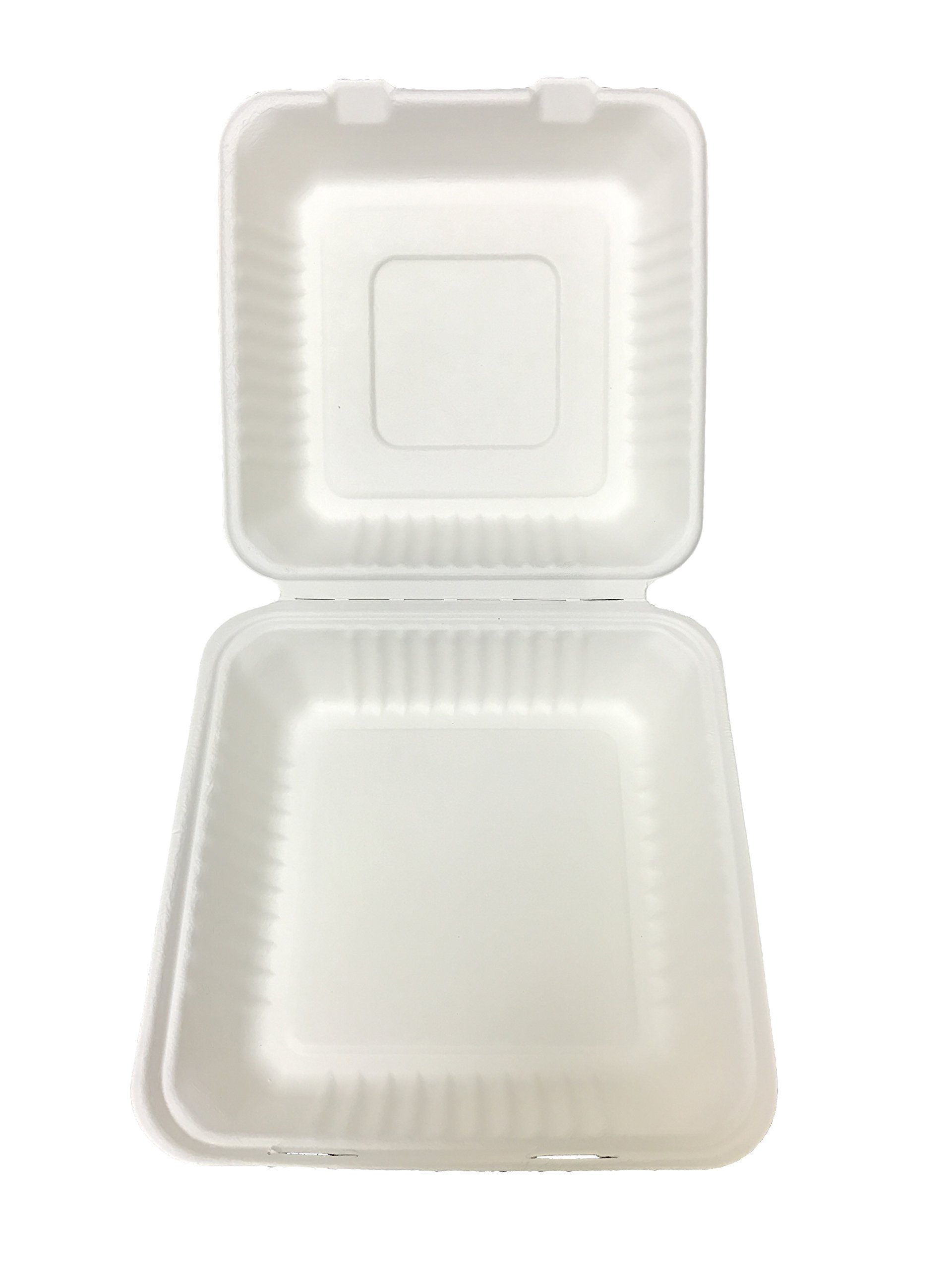 Primeware Bagasse Hinged Lid Container - Large 9 x 3.19'' - 200/Cs (2 x 100), Not Applicable