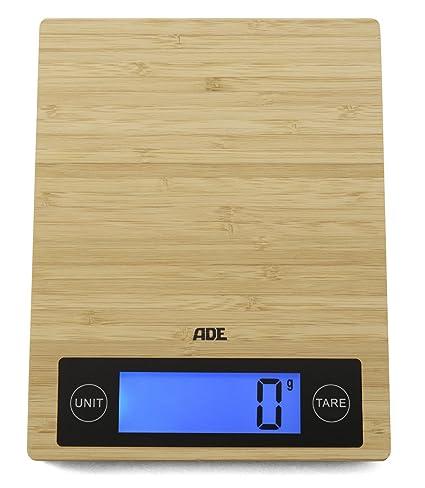 ADE KE1128 - Báscula digital de cocina Ramona, Capacidad 5Kg, Bambú resistente, madera