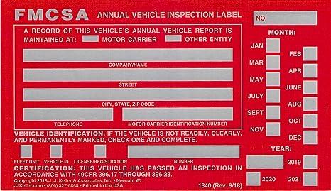 Jj Keller 54sn Annual Vehicle Inspection Label 20 Pack