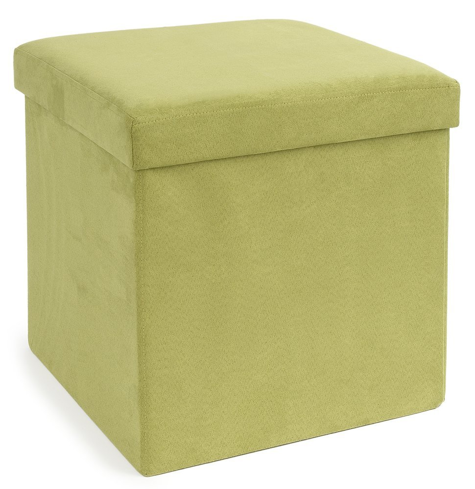 The FHE Group Micro Suede Folding Storage Ottoman, 15 by 15 by 15-Inch, Green 250049-006