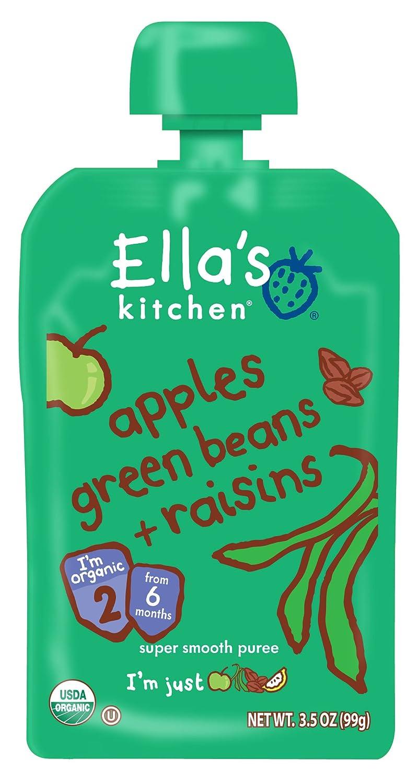Ella\'s Kitchen Organic, Apples Green Beans + Raisins, 3.5 oz ...