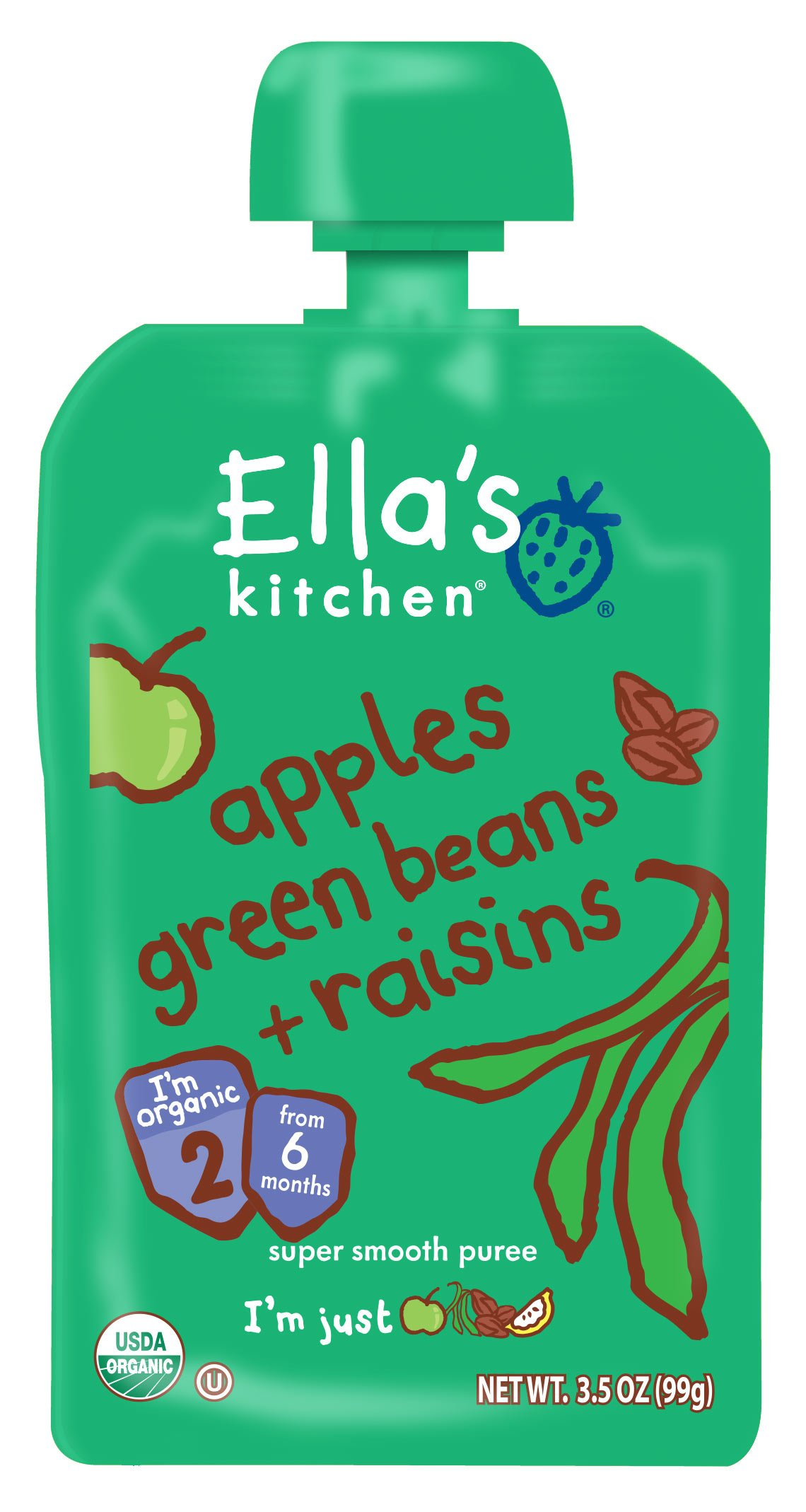 Ella's Kitchen Organic 6+ Months Baby Food, Apples Green Beans and Raisins, 3.5 oz. Pouch