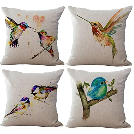 Famulei 4 Packs Wash Painting Cute Birds Pattern Chair Seat Back Cushion  Cover Pillow Covers 18X18