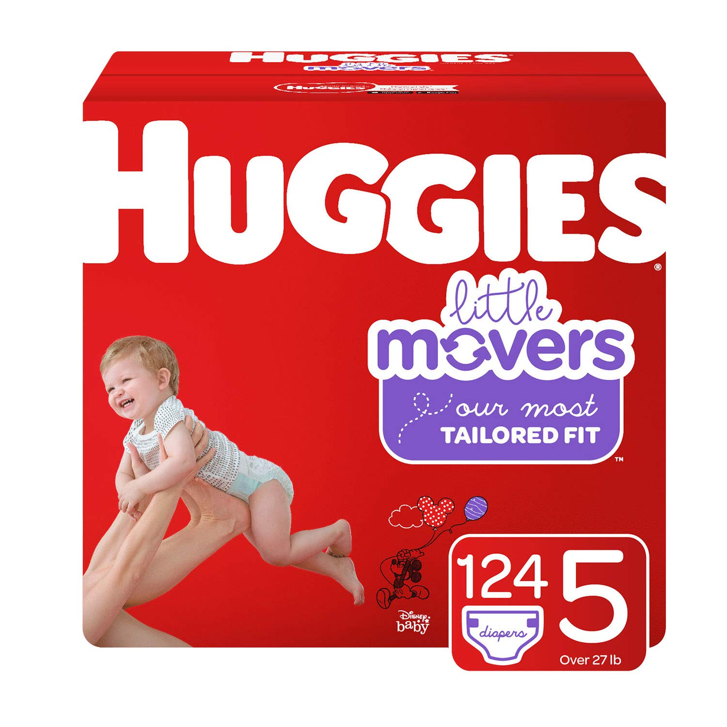 Huggies Little Movers Diapers, Size 5 (27+ lb.), 124 Ct, Economy Plus Pack (Packaging May Vary) by Huggies
