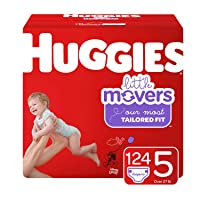 Huggies Little Movers Baby Diapers, Size 5, 124 Ct, One Month Supply, Packaging...