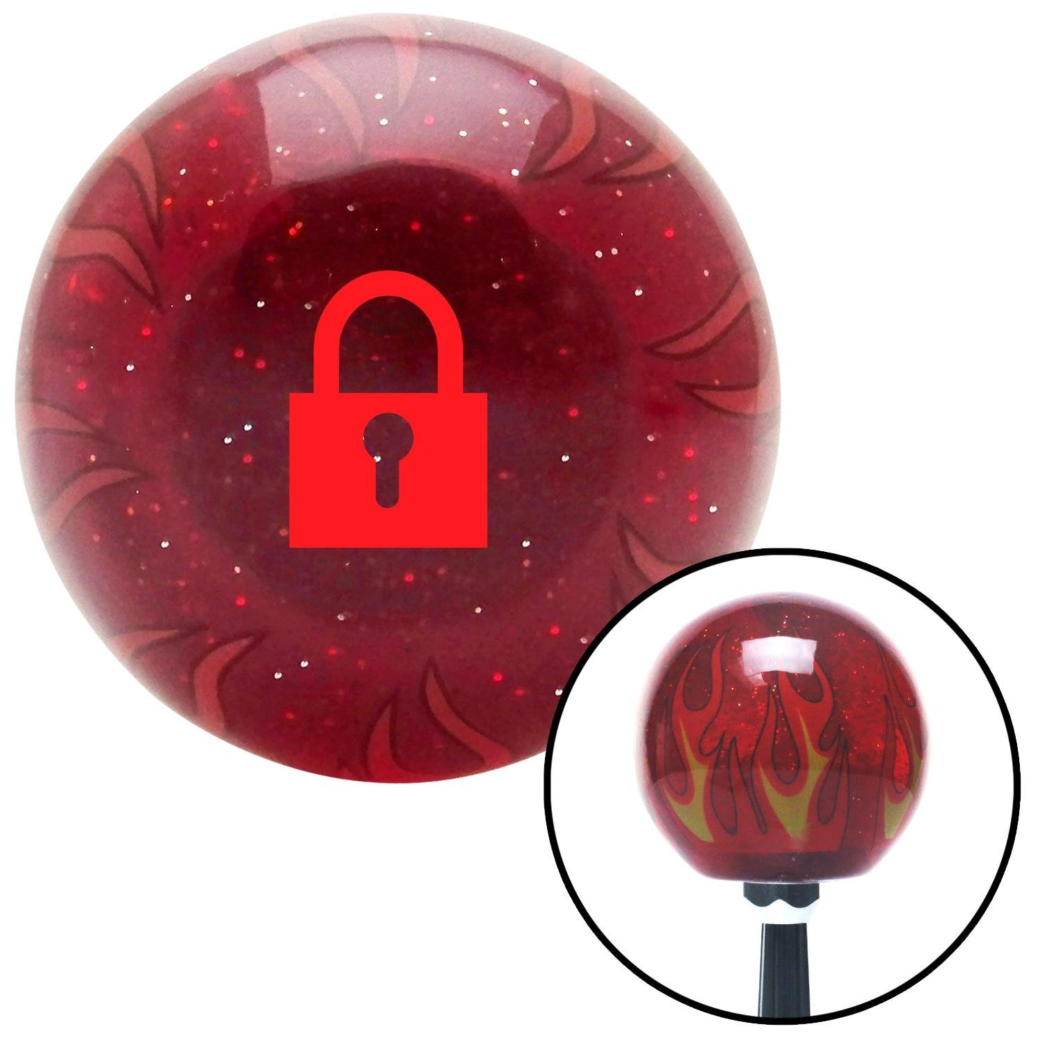 Red Locked Lock American Shifter 239754 Red Flame Metal Flake Shift Knob with M16 x 1.5 Insert