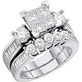 Midwest Jewellery Diamond Bridal Set 10K White Gold Engagement Ring/Wedding Ring Set Princess Cut White Gold 10k 2pc Set (1.00cttw, i2/i3, I/j)