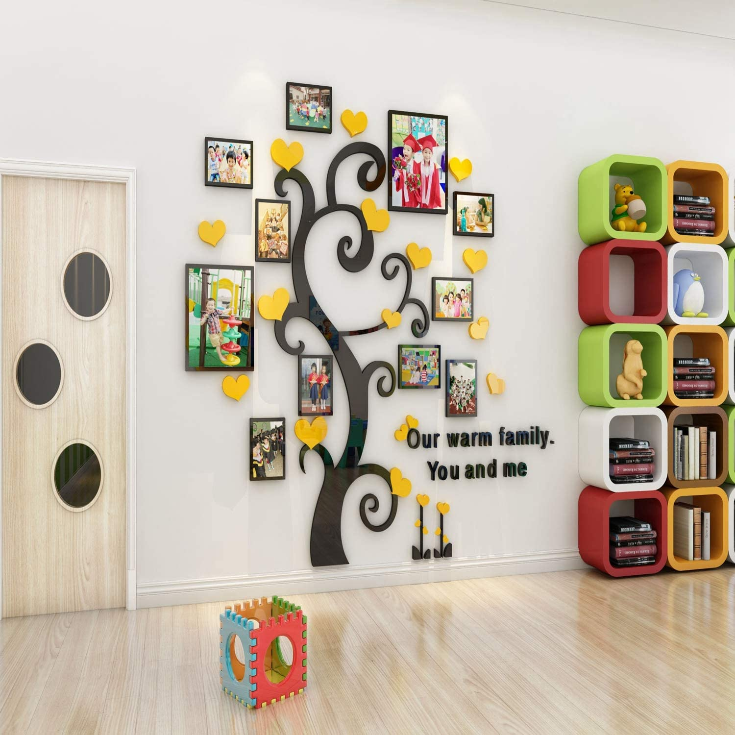 Unitendo 3D Wall Stickers Photo Frames FamilyTree Wall Decal Easy to Install &Apply DIY Photo Gallery Frame Decor Sticker Home Art Decor, Yellow Heart and Thick Trunk, L.