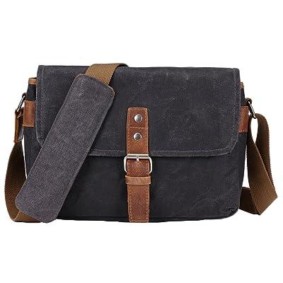 Vianber SLR Camera Bag, Waterproof Wax Canvas Bag Vintage Camera Case Messenger Bag with Interlayer Pad