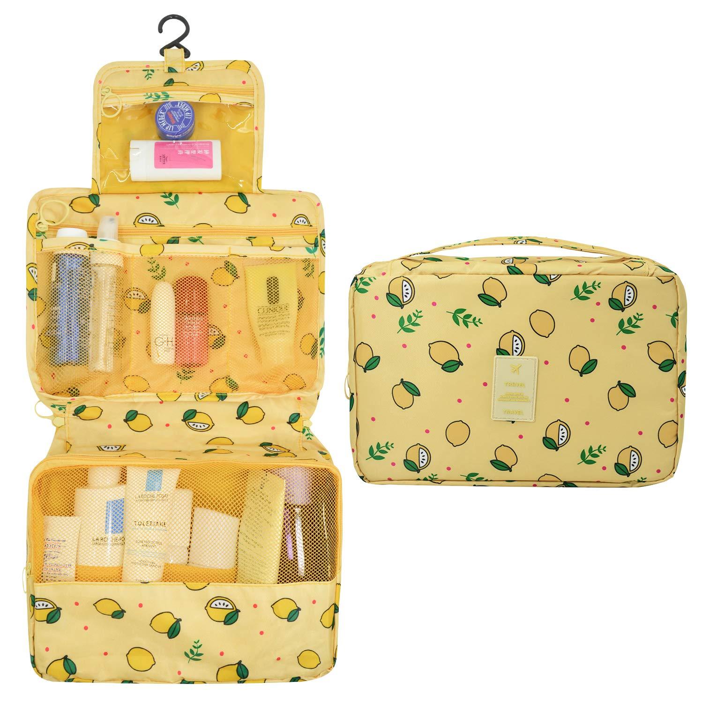 AIDIAN Large Toiletry Bag Lightweight Hanging Makeup Travel Bag for Women Men Waterproof Yellow Lemon