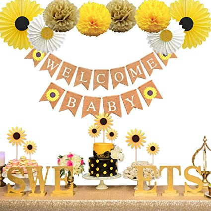 Amazon Com Keaparty Sunflower Baby Shower Party Decorations Supplies Kit Sunflower Welcome Baby Banner Yellow Sunflowers Cupcake Toppers Tissue Paper Fans Pom Poms Toys Games