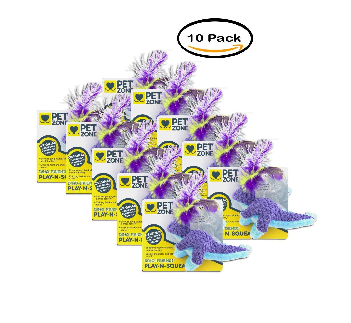PACK OF 10 - Pet Zone Dino-Friends Play-N-Squeak, 1.0 CT
