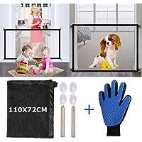 Nifogo Magic Gate Dog & Guantes para Mascotas, Seguridad Plegable Portátil para Perro Puerta,Puerta de Seguridad Aislada para Perros y Mascotas (110 x 72cm)
