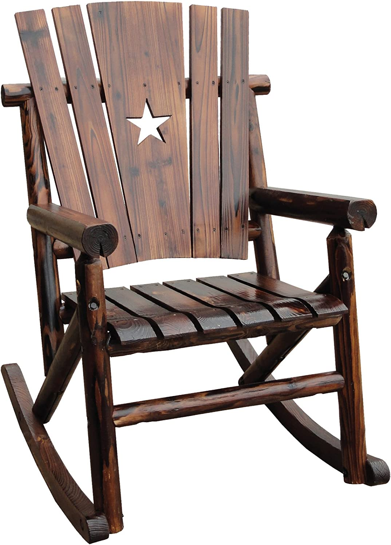 Amazon Com Char Log Single Rocker With Star Patio Rocking Chairs Garden Outdoor
