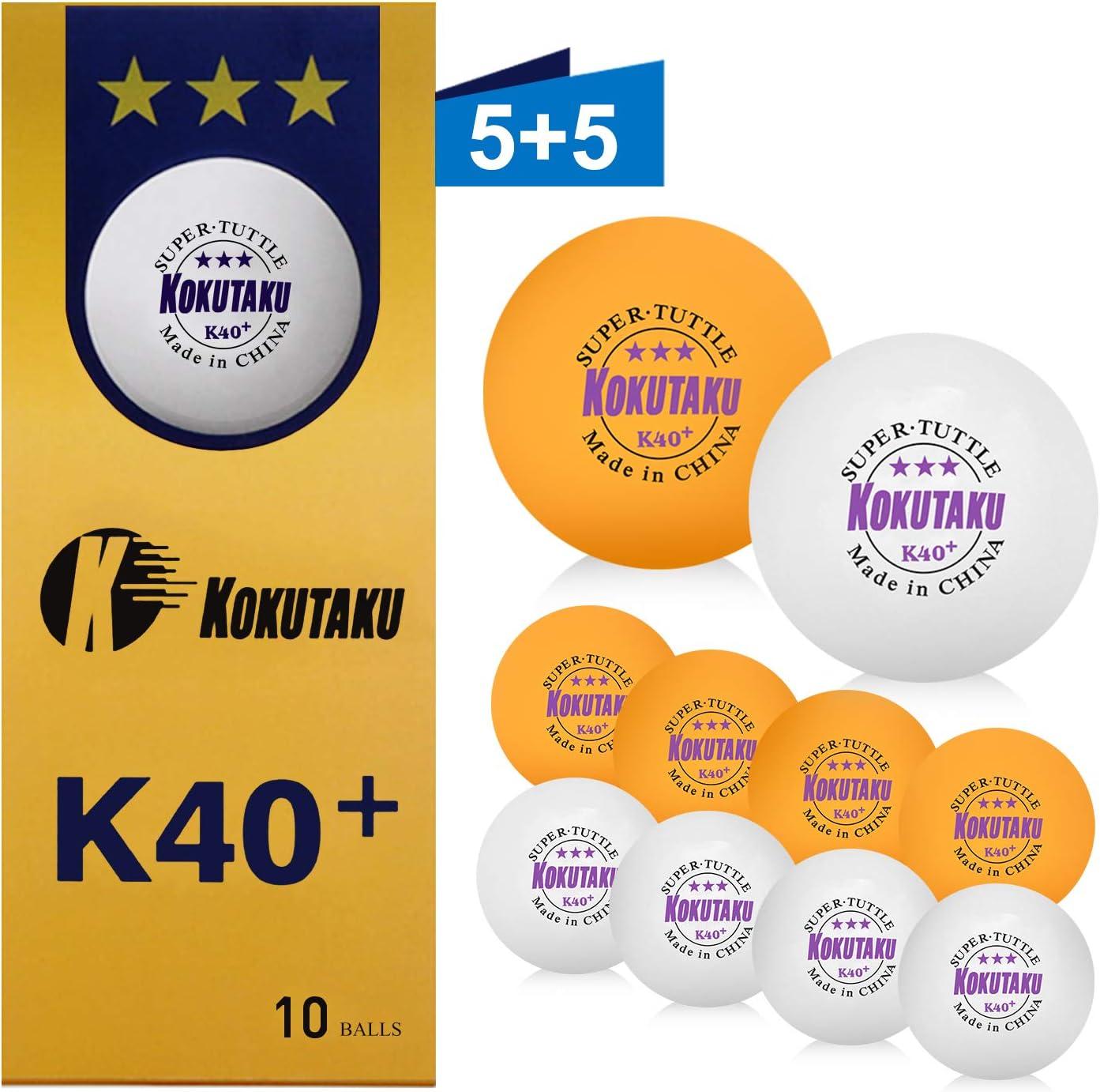 Pelotas de ping pong 3 estrellas blanco/naranja, juego de pelota de tenis de mesa K40 profesional, ideal para niños adultos, entrenamiento al aire libre en interiores (10 pcs)