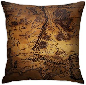 Lord of The Ring Map of Middle Earth Bedroom Couch Sofa Square Pillow Cases Home Decor Throw Pillow Covers 18x18 Inch