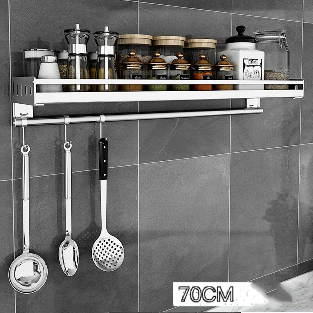 Bookcases Kitchen Shelf Stainless Steel Kitchen Rack Wall Wall-Mounted Seasoning Rack Free Punch Storage Storage Rack Space Yixin (Color : A, Size : 70169.8cm)