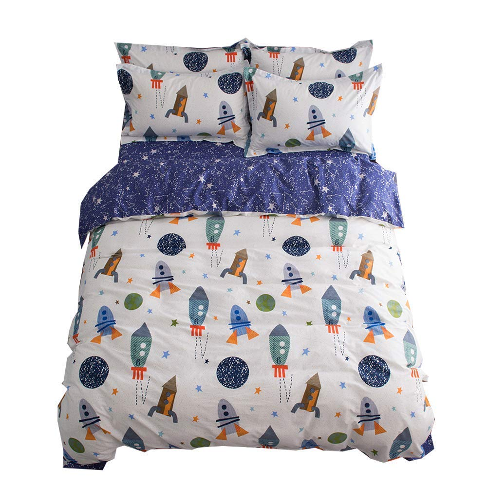 BuLuTu Space Rocket Print Boys Bedding Duvet Cover Queen White Blue Cotton,3 Pieces (1 Duvet Cover and 2 Pillow Shams) Planet Spaceship Stars Full Girls Bedding Sets Zipper Closure,No Comforter by BuLuTu
