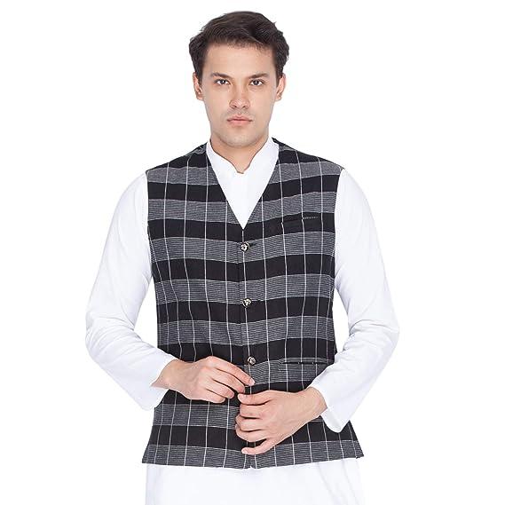 ebdebba79 VASTRAMAY Men Cotton Modi Nehru Jacket Ethnicwear (VASMJ015BL Colour ...