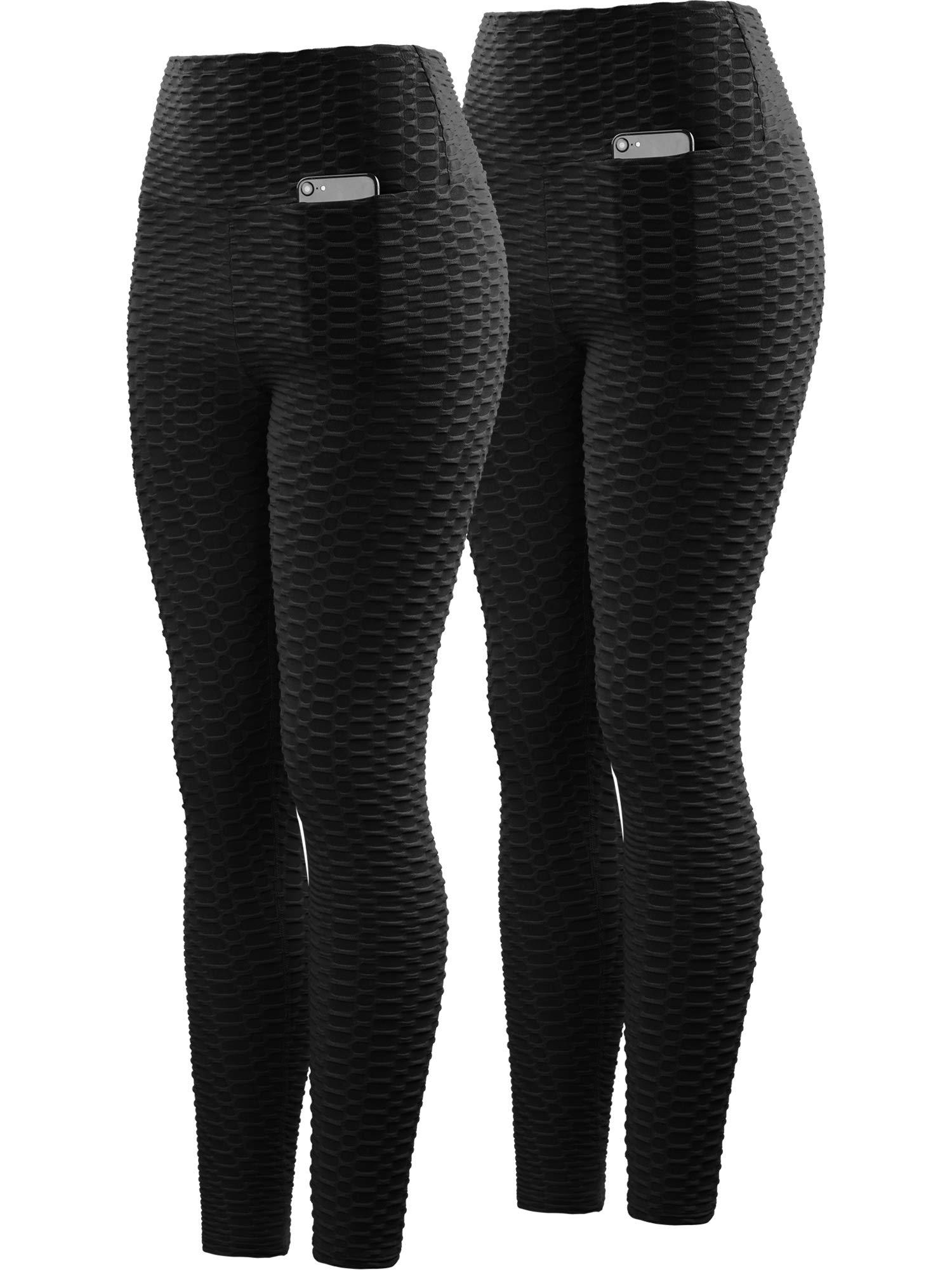 Neleus Women's 2 Pack Tummy Control High Waist Leggings Out Pocket,9036,Black/Black,S,EU M