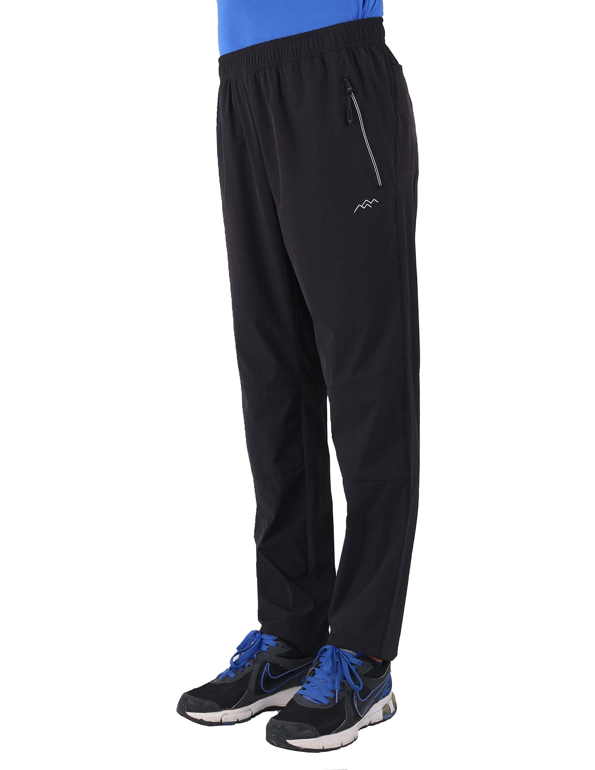 Trailside Supply Co. Men's Light Weight Quick Dry Breath Elastic-Waist Drawstring Skinny Pants,Medium-Black