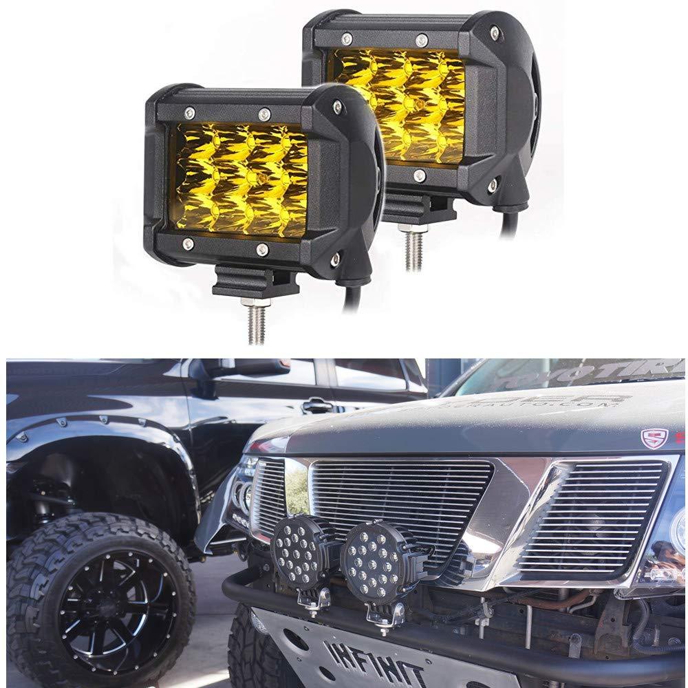 2PCS 4 LED Work Light Bar 72W 3000K Yellow Fog Light 8000LM 10-30V DC Waterproof Car Light Motorcycle Lights Off-Road Lights Modified Lights Warranty 3 Years