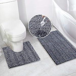 Bathroom Rugs Bath Mat Set for Bathroom 2 Piece 20 x 20 U Shape Contour Bath Rug & 20 x 32 Bathroom Rug Mats Toilet Machine Wash Non Slip(Grey)