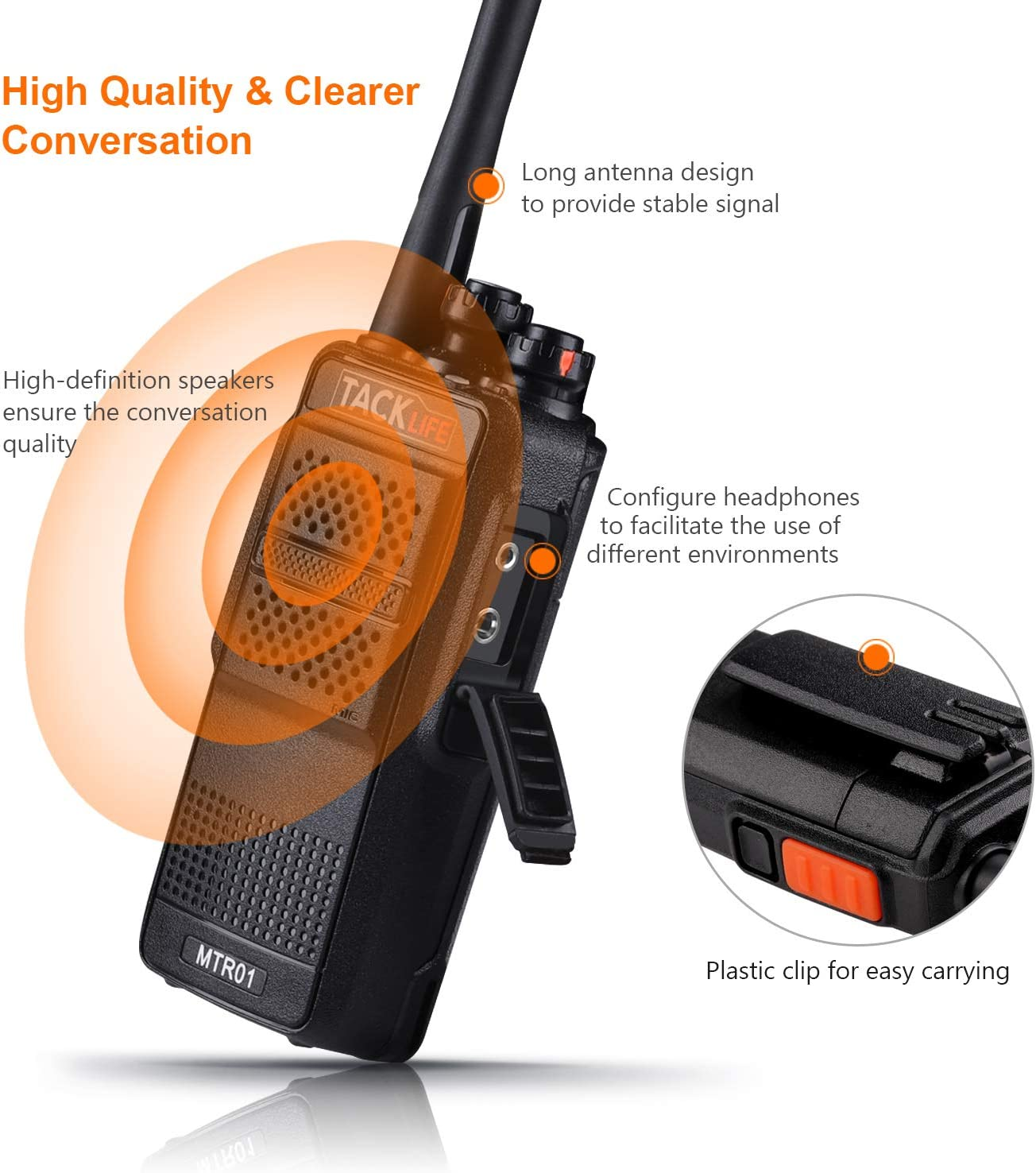 Li-ion Battery Charging Professional Long Range Two-Way Radios 2-Pack with Earpiece 16 Channels Walkie Talkies Rechargeable UHF 400-470MHz Clip Included MTR01 Charger
