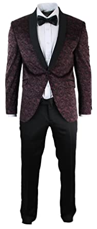 Costume smoking homme habillé motif cachemire velours veste coupe slim  marron grenat   pantalon noir bf0f055b157