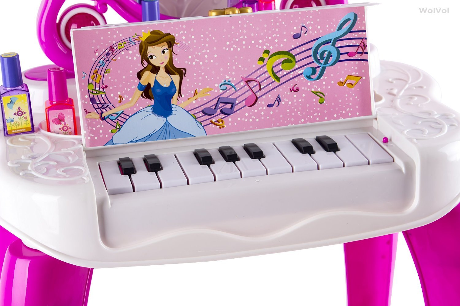 WolVol 2-in-1 Vanity Set Girls Toy Makeup Accessories with Working Piano & Flashing Lights, Big Mirror, Cosmetics, Working Hair Dryer - Glowing Princess Will Appear When Pressing The Mirror-Button by WolVol (Image #5)
