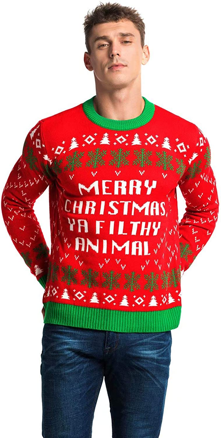 Unisex Men's Knit Christmas Ugly Sweater Funny Classic Novelty Pullover - Ho Ho Home Alone