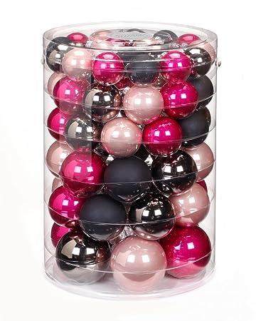 Christbaumkugeln Glas Schwarz.60x Glas Christbaumkugeln Pink Rosa Schwarz Glanz Matt Kugeln 4 5 6 7 Cm