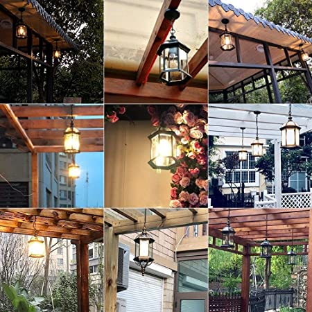 LI Xiang Techo de Cristal Europeo Villa Luz IP55 Impermeable for Exterior Jardín Corredor UVA Gazebo Suspensión Cadena Ligera E27 del Metal Ajustable (Color: Negro) (Color : Bronze): Amazon.es: Hogar