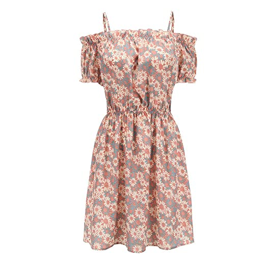 aef3cfa73166 Mini Dress for Women Short Sleeve Cold Shoulder Ruffle Trim Floral Print A  Line Cute Casual Sundress Dresses at Amazon Women s Clothing store