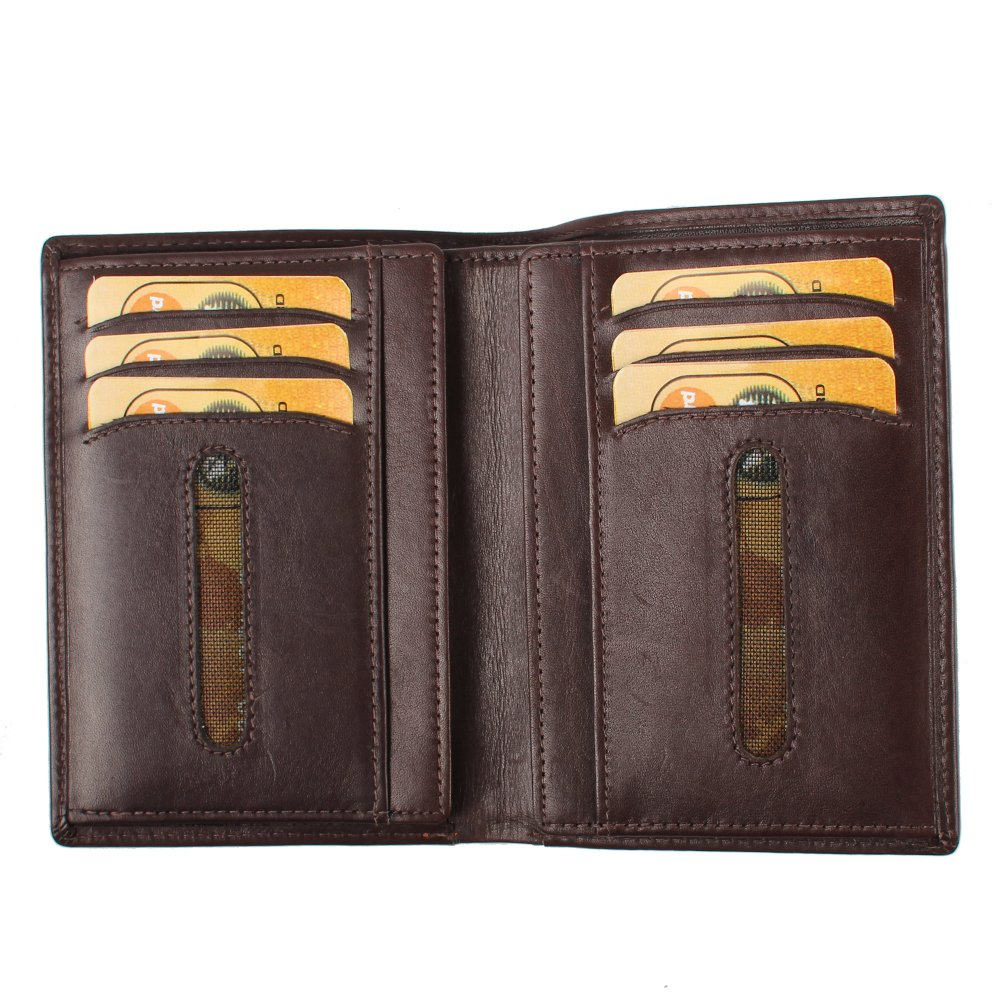Ausweishülle Brieftasche aus feinstem Leder - Brieftasche aus Leder für Herren und Damen (Braun)