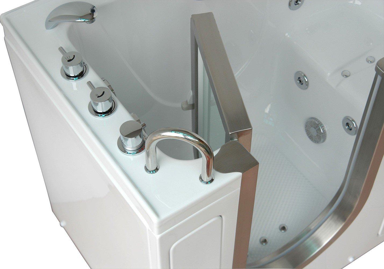 X  Deluxe Massage Whirlpool Walk In Tub Door And Drain - Lay down walk in bathtub