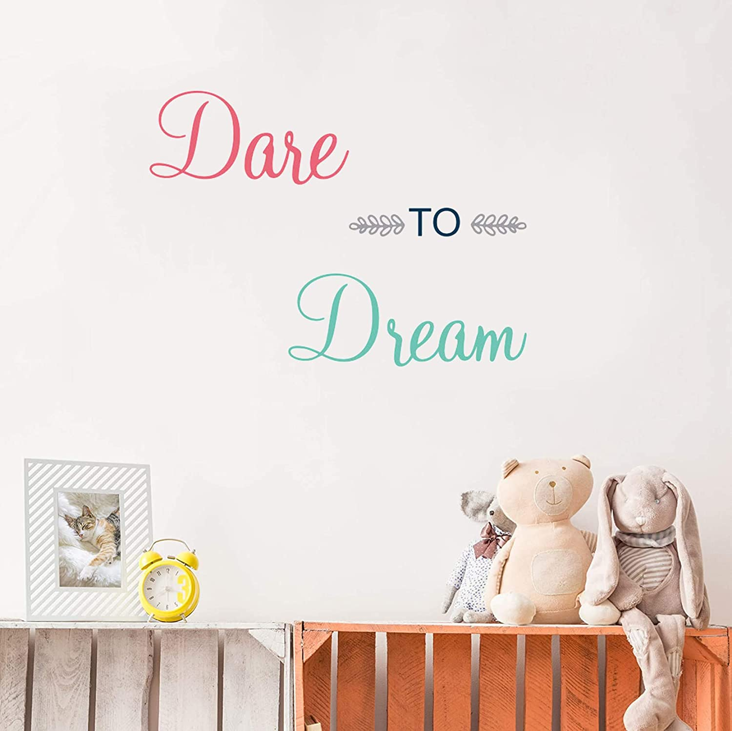 Dare to Dream, Inspirational Quote Wall Stickers, Peel and Stick Wall Decals, Vinyl DIY Decorations Wall Decor for Classroom Bedroom Playroom Nursery Kids Room Decor