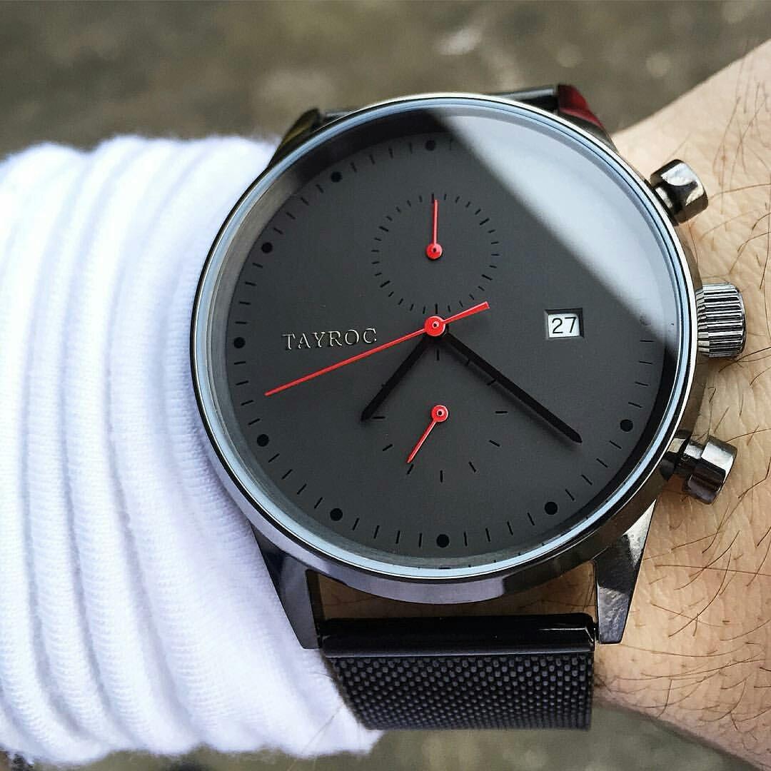 Reloj hombre RELOJ tayroc Boundless Black Classic cronógrafo acero inoxidable cuarzo reloj de pulsera txm086: Amazon.es: Relojes