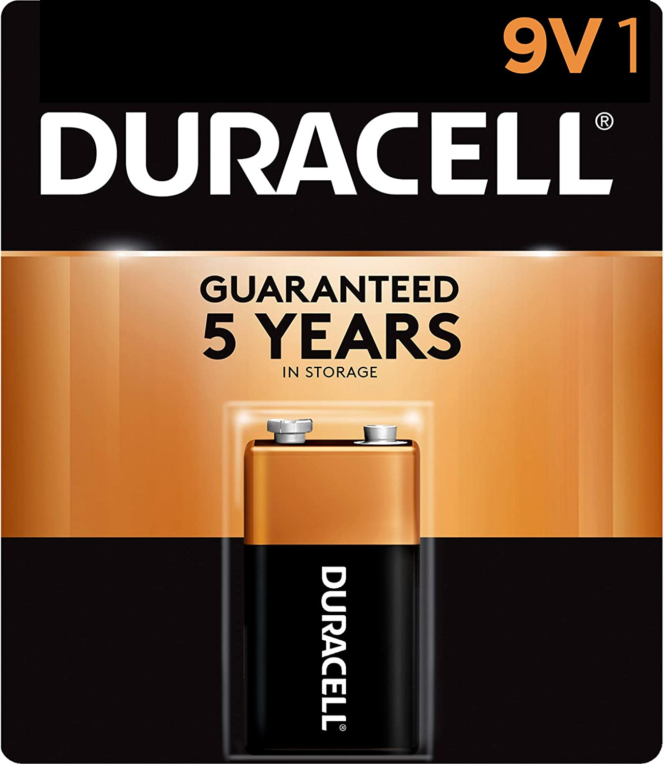 Amazon Com Duracell Coppertop 9v Alkaline Batteries Long Lasting All Purpose 9 Volt Battery For Household And Business 1 Count Health Personal Care