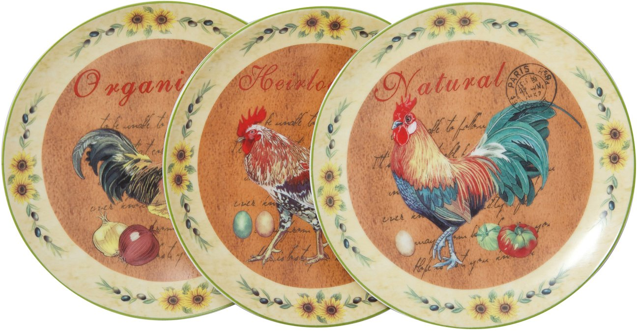 Set tre piatti decorativi da parete in ceramica decorata L20XPR20XH2 cm Biscottini