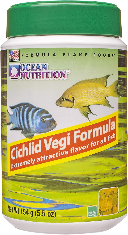 Ocean Nutrition Cichlid Vegi Flakes 5.5-Ounces (154 Grams) Jar
